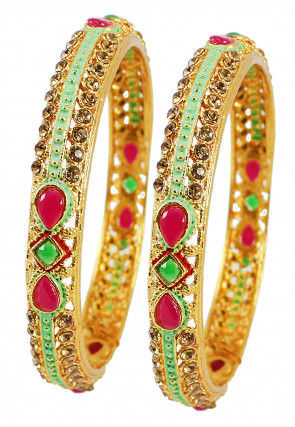 Enamel Filled Stone Studded Pair of Bangle