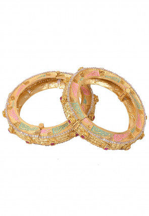Enamel Filled Stone Studded Pair of Openable Bangles