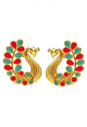Enamelled Peacock Style Studs Earrings