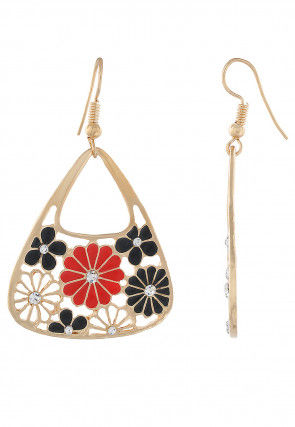 Enamelled Stone Studded Earrings