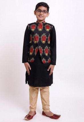 Face Printed Rayon Kurta Jacket Set in Black