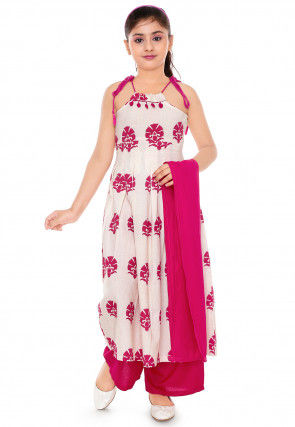 Floral Print Cotton Anarkali Suit in Off White