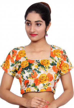 Floral Printed Bhagalpuri Silk Blouse in Multicolor