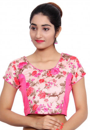 Floral Printed Bhagalpuri Silk Blouse in Pink and Peach