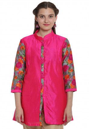 Floral Printed Bhagalpuri Silk Front Slit Top in Fuchsia