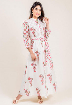 Floral Printed Chanderi Cotton Dress in White