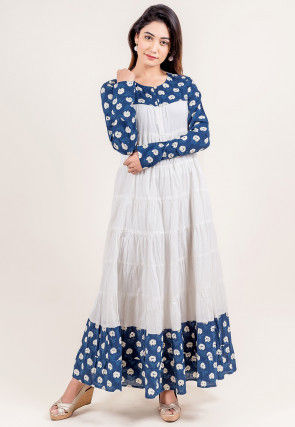 Floral Printed Cotton Circular Dress in White and Blue