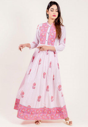Floral Printed Cotton Gown in White and Pink