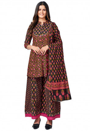Floral Printed Cotton Pakistani Suit in Black and Pink