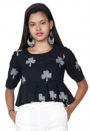 Floral Printed Cotton Peplum Style Top in Black