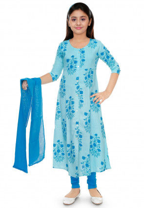 Floral Printed Cotton Rayon Anarkali Suit in Sky Blue