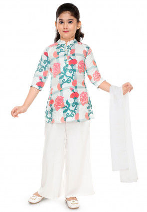 Floral Printed Cotton Straight Suit in Off White and Multicolor