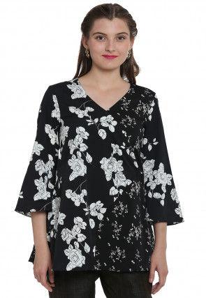 Floral Printed Crepe Top in Black
