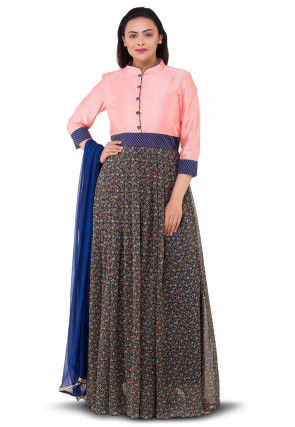Floral Printed Georgette Abaya Style Suit in Blue and Peach