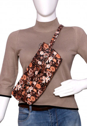 Floral Printed PU Leather Fanny Pack (Waist Pouch) in Brown