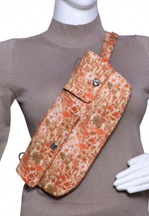 Floral Printed PU Leather Fanny Pack (Waist Pouch) in Peach