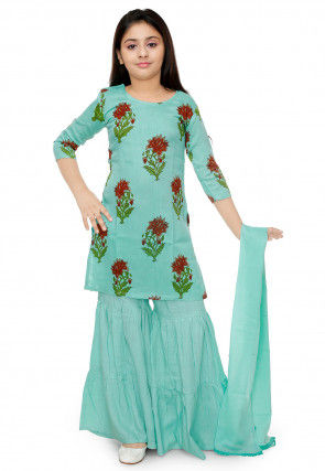 Floral Printed Rayon Cotton Pakistani Suit in Turquoise