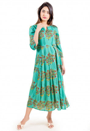 Floral Printed Rayon Dress in Light Teal Green