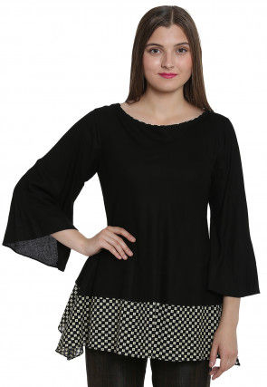 Floral Printed Rayon Top in Black