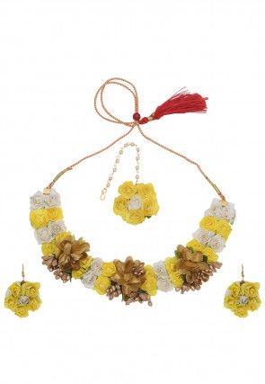 Flower Applique Choker Necklace Set