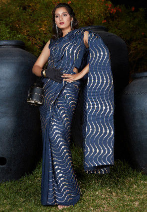 Foil Printed Accordian Polyester Saree in Navy Blue