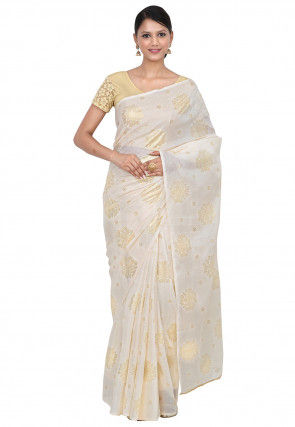 Foil Printed Art Kota Silk Saree in Off White