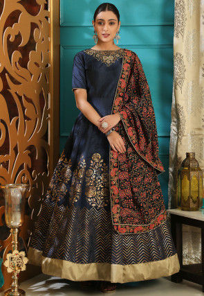 Foil Printed Art Silk Abaya Style Suit in Navy Blue