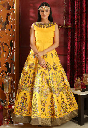 Foil Printed Art Silk Abaya Style Suit in Yellow