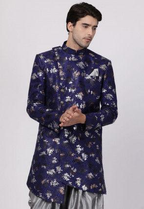 Foil Printed Art Silk Asymmetric Sherwani in Navy Blue