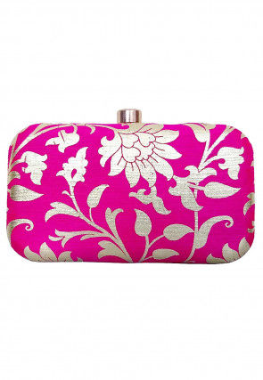 Foil Printed Art Silk Box Clutch in Fuchsia