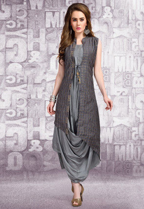f62d7c771fd Foil Printed Art Silk Cowl Jacket Style Dress in Grey