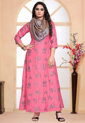 Foil Printed Art Silk Gown in Pink