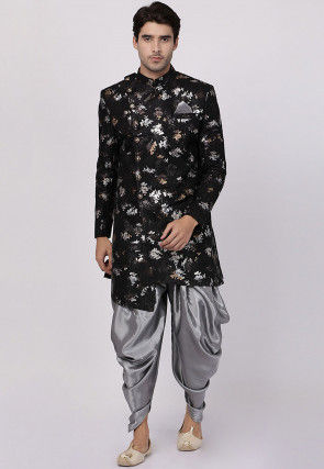 Foil Printed Art Silk Jacquard Dhoti Sherwani in Black