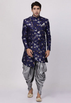 Foil Printed Art Silk Jacquard Dhoti Sherwani in Navy Blue