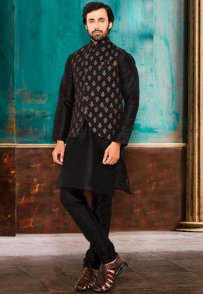 Foil Printed Art Silk Kurta Jacket Set in Black