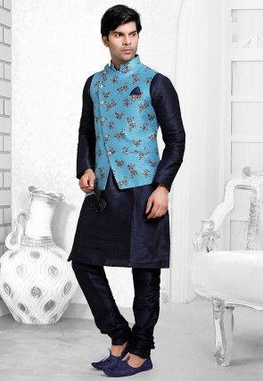 Foil Printed Art Silk Kurta Jacket Set in Navy Blue and Sky Blue