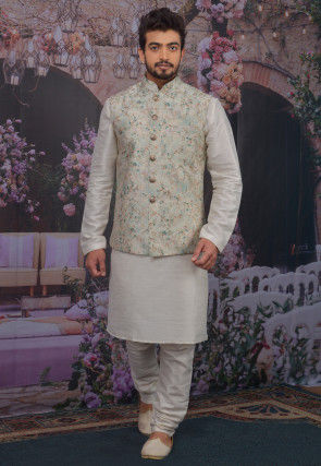 Foil Printed Art Silk Kurta Jacket Set in Off White and Grey