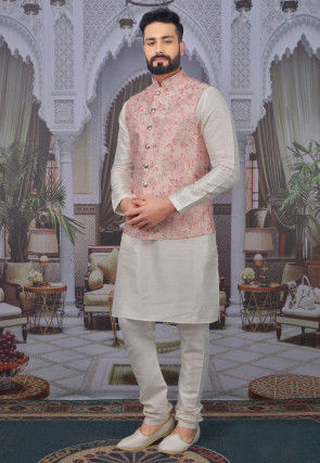Foil Printed Art Silk Kurta Jacket Set in Off White and Pink
