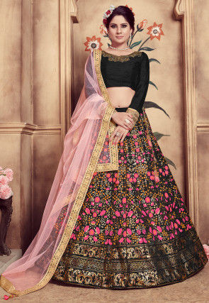Foil Printed Art Silk Lehenga in Black