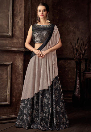 Foil Printed Art Silk Lehenga in Charcoal Black
