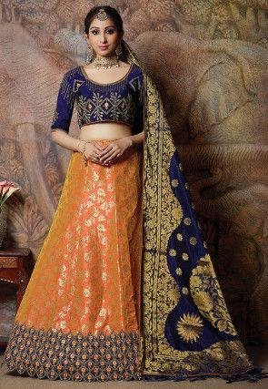 Foil Printed Art Silk Lehenga in Orange
