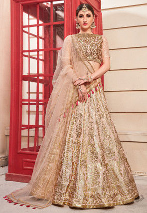 Foil Printed Art Silk Lehenga in Peach