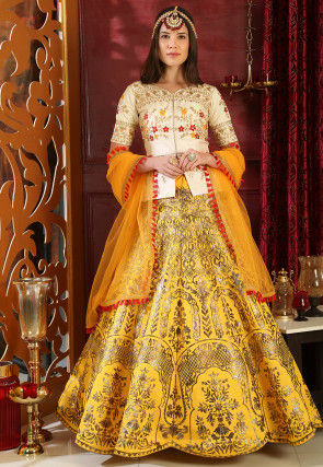 Foil Printed Art Silk Lehenga in Yellow