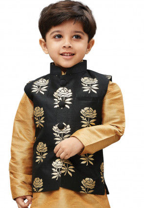 Foil Printed Art Silk Nehru Jacket in Black