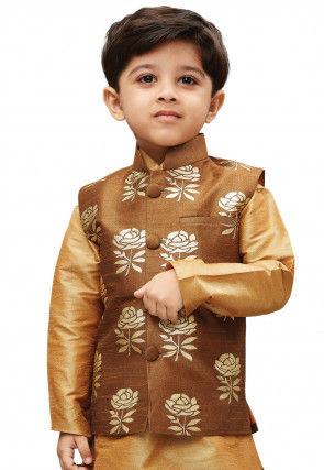 Foil Printed Art Silk Nehru Jacket in Brown