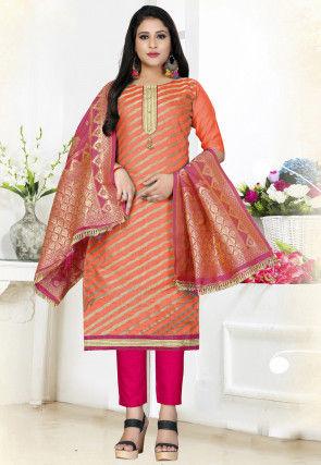 Foil Printed Art Silk Pakistani Suit in Orange