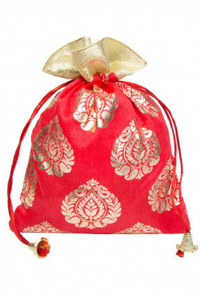 Foil Printed Art Silk Potli Bag in Red
