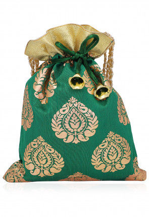 Foil Printed Art Silk Potli Bag with Beaded Handle in Green