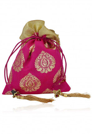 Foil Printed Art Silk Potli Bag with Beaded Handle in Pink