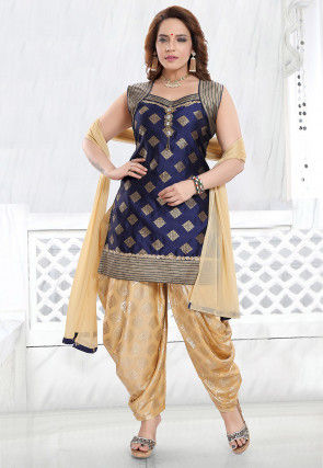 Foil Printed Art Silk Punjabi Suit in Navy Blue